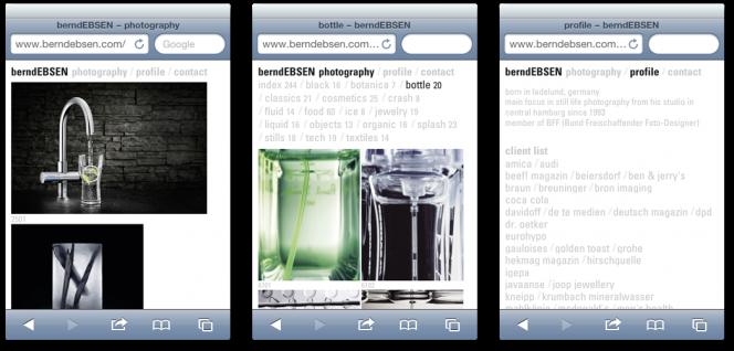 berndebsen.com Relaunch: Ansicht auf mobilem Endgerät