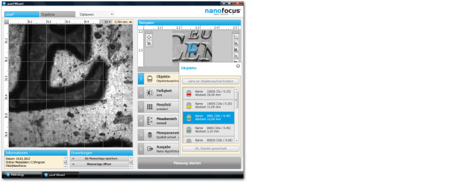 µsoft metrology: Aktivierte Werkzeugpaletten und Parameterdetail bei minimaler Bildschirmauflösung