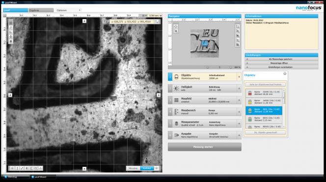 """µsoft metrology: Aktivierte Werkzeugpaletten und Parameterdetail """"Helligkeit"""""""