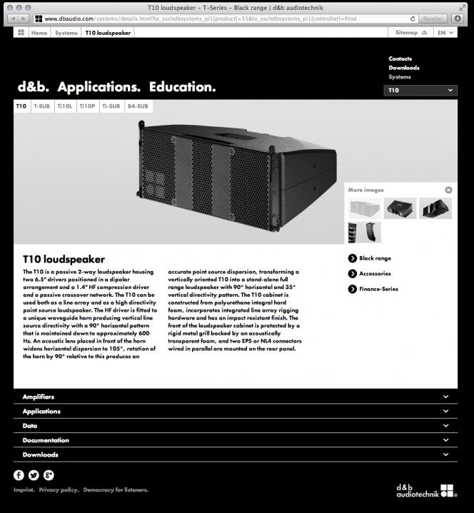 dbaudio.com Relaunch: Produktseite