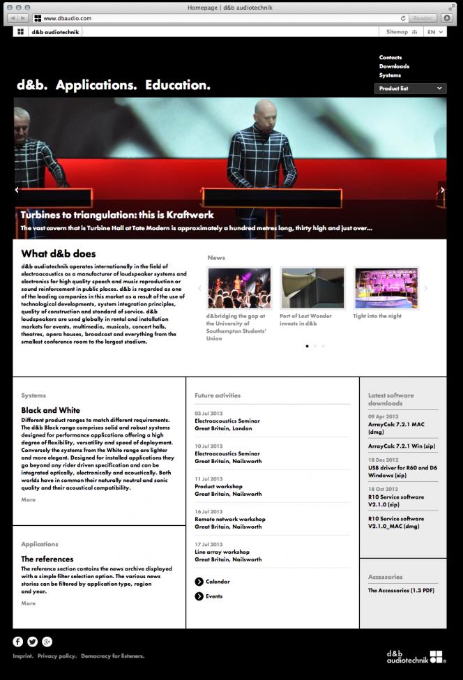 dbaudio.com Relaunch: Startseite