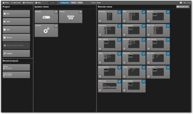 R1 Remote control software v2: Home Screen