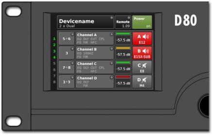 D80 Verstärker Benutzeroberfläche: Home Screen