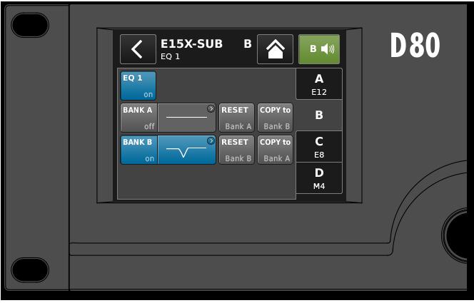D80 Verstärker Benutzeroberfläche: EQ Übersicht